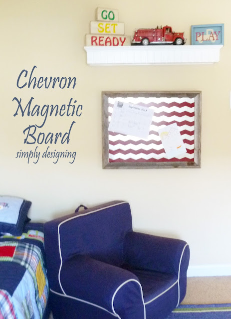 DIY Chevron Magnetic Bulletin Board | includes a full tutorial on how to create this project | from Simply Designing | #diy #chevron #organization