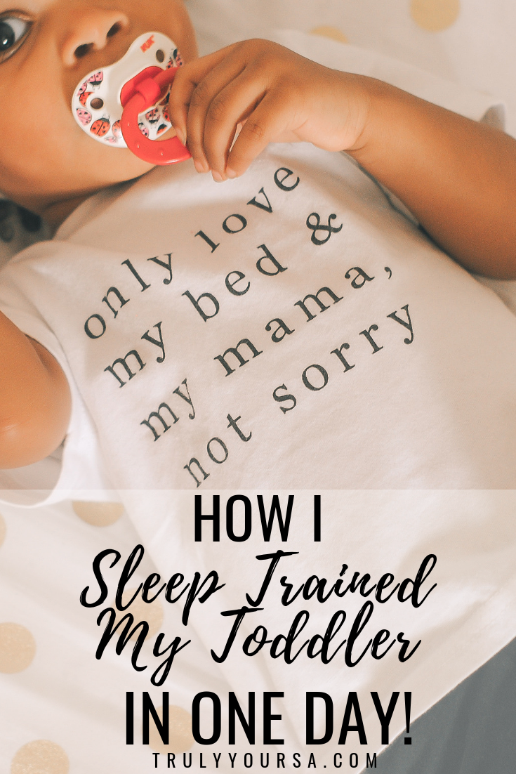 "I know you're reading the title of this post and thinking, ""How?!"" or ""This is totally clickbait."" But I actually got my co-sleeping toddler to sleep in her crib, without crying it out, AFTER ONE DAY! Keep reading for more on how I did it and how you can make sleep training easier for you and your toddler! #sleeptraining #sleeptrainingtoddler #sleeptrainingtips"