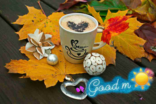 beautiful good morning image coffee cup and heart shape leaf for her