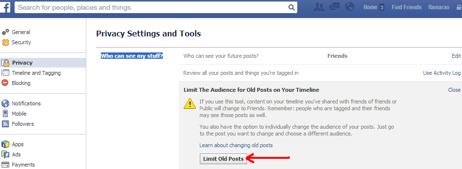 Facebook privacy setting to limit audience for old posts