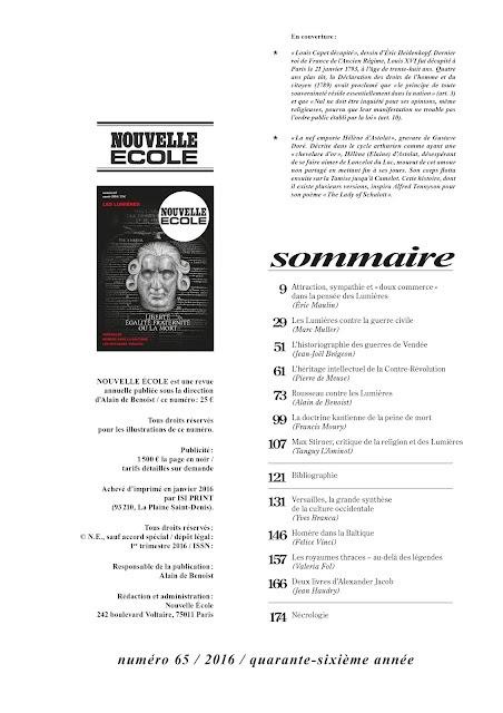 Espace Revues Krisis Diffusion : les publications d'Alain de Benoist dans les revues Nouvelle Ecole et Philitt