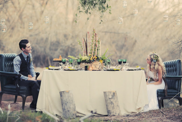 bride+groom+bridal+dress+gown+floral+hair+wreath+rustic+woodland+ecofriendly+eco+friendly+green+emerald+color+of+the+year+pantone+cake+dessert+table+reception+centerpiece+blue+hipster+fall+autumn+gideon+photography+44 - Woodland Fairytale