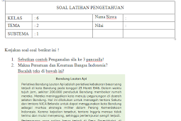 Soal UH / PH Kelas 6 Tema 2 Kurikulum 2013 Revisi