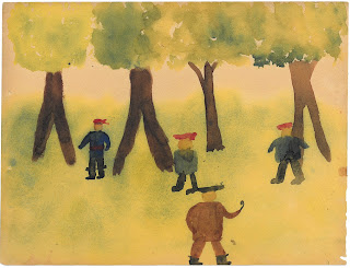 Watercolor of lost boys in the woods