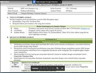 Download RPP Prakarya (Budidaya) Kelas 7 Semester 2 Tahun 2021/2022