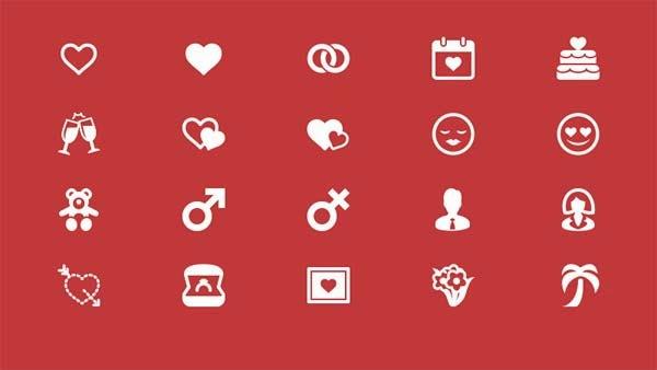 20 Elegant Love and Romance Glyph Icons