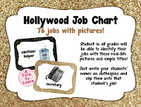 black and gold glittery hollywood themed job chart... love the use of real pictures for pre-readers and ELLs!