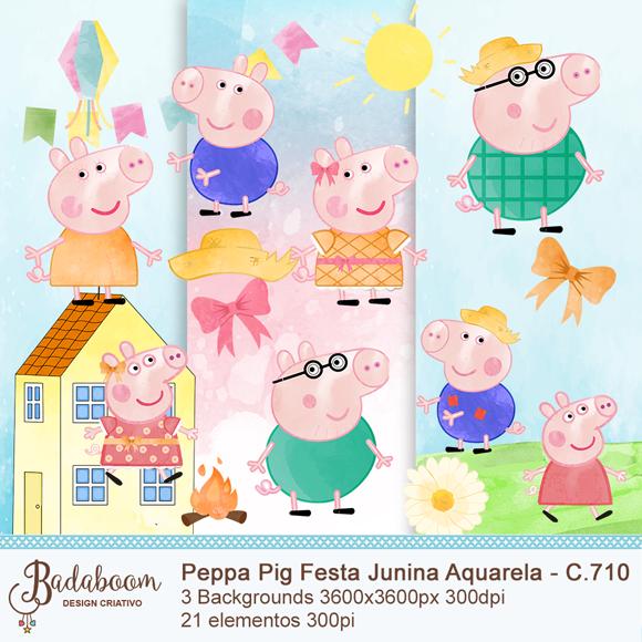 Kit Scrapbook Peppa Pig Festa Junina Aquarelada