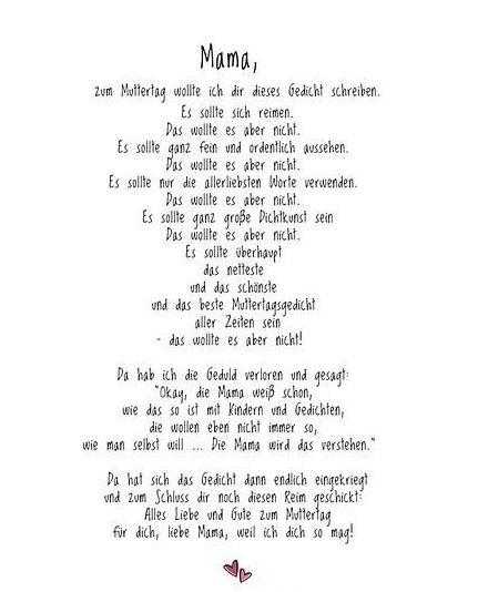 Gedicht muttertag mama für mama