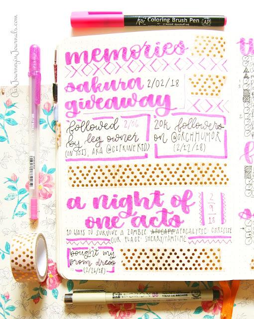 february bullet journal monthly memories spread