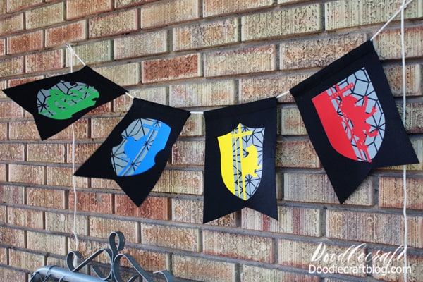 Hogwarts House Bunting Made with Cricut