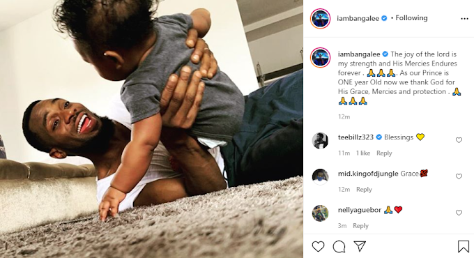 Dbanj shares moment with his son who turns one year old today. (Photos)