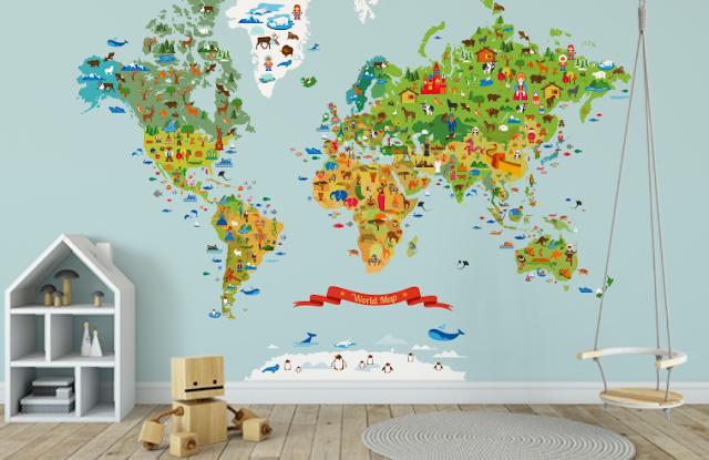 Mural mapamundi con animales