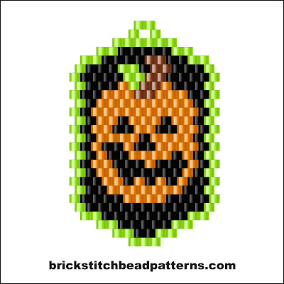Click for a larger image of the Pumpkin Dog Tag Halloween brick stitch bead pattern color chart.