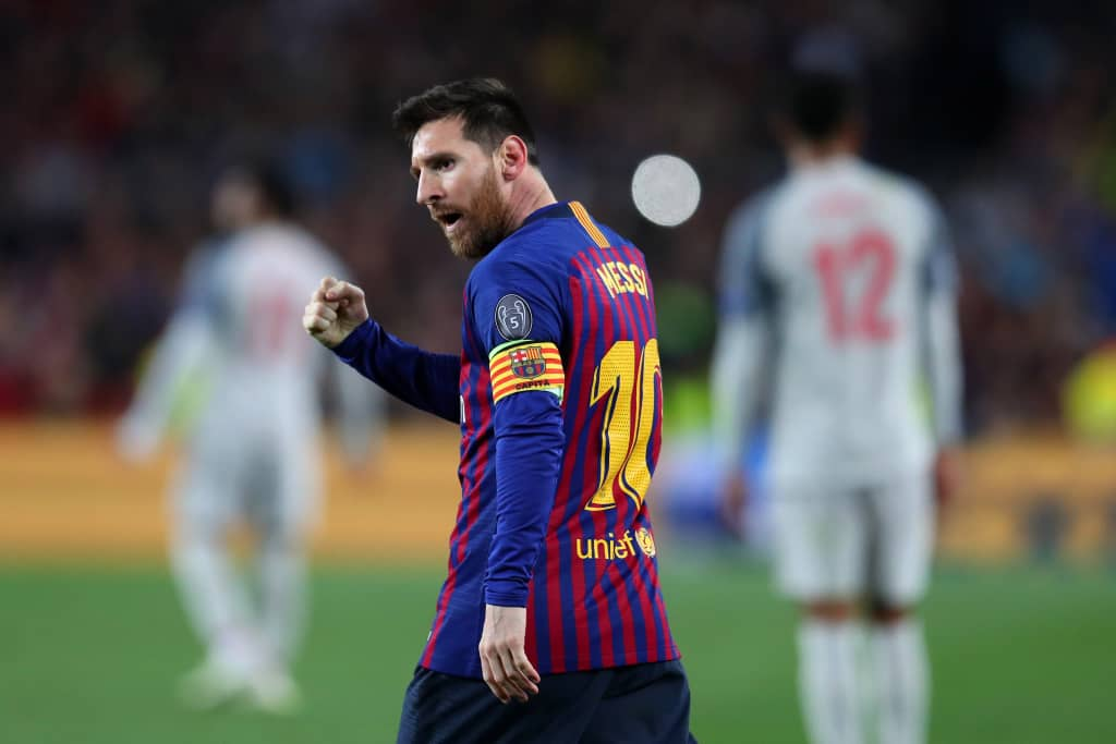 e5efd95f694 The recently crowned Spanish champions dealt Liverpool s Champions League  aspirations a telling blow after Messi s double and Suarez s opener ensured  the ...