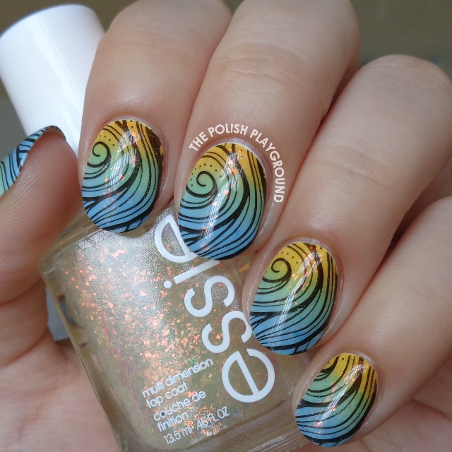 Spring Colored Gradient with Black Swirly Stamping Nail Art