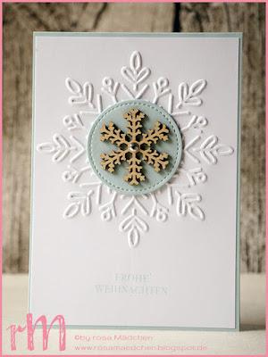 Stampin' Up! rosa Mädchen Kulmbach: Weihnachtskarte mit Schneekristall, Weihnachten daheim und Framelits Stickmuster