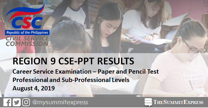 LIST OF PASSERS: August 2019 civil service exam CSE-PPT result Region 9