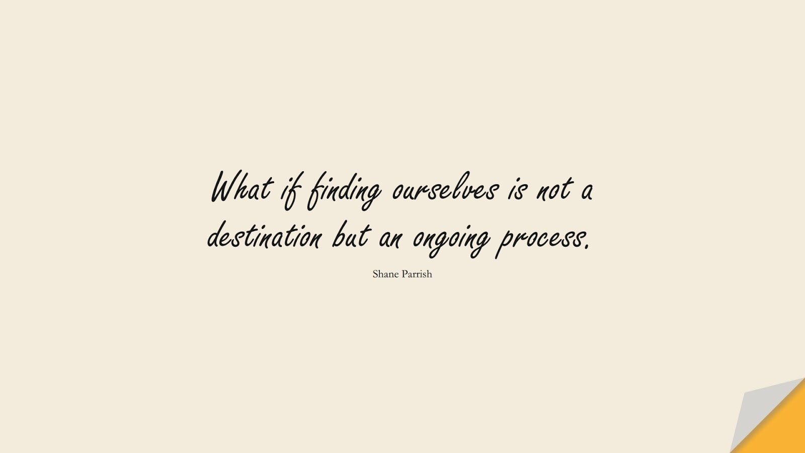 What if finding ourselves is not a destination but an ongoing process. (Shane Parrish);  #BeYourselfQuotes