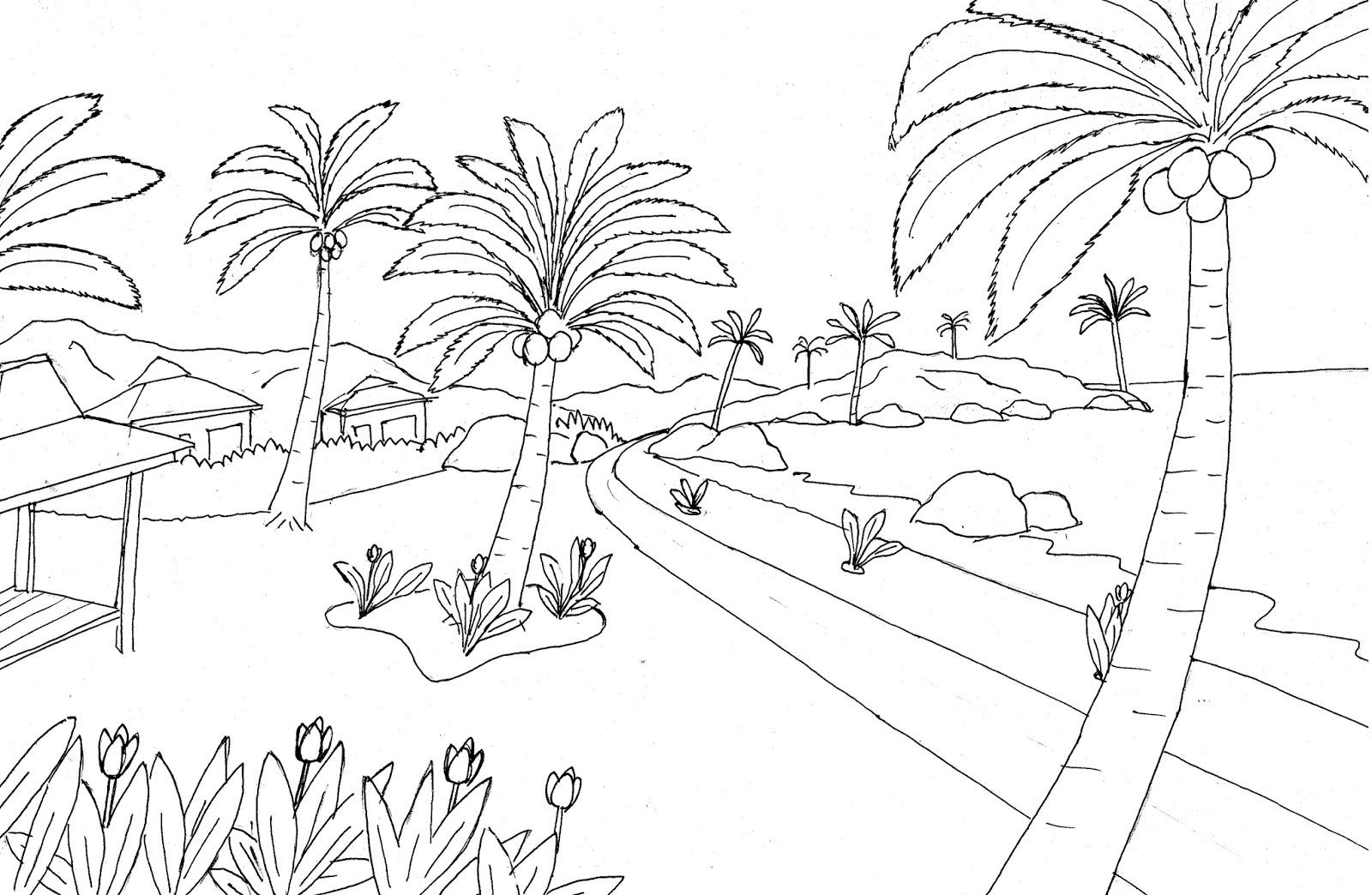 Gambar mewarnai pemandangan pantai gunung dan pohon kelapa Colouring Beach View