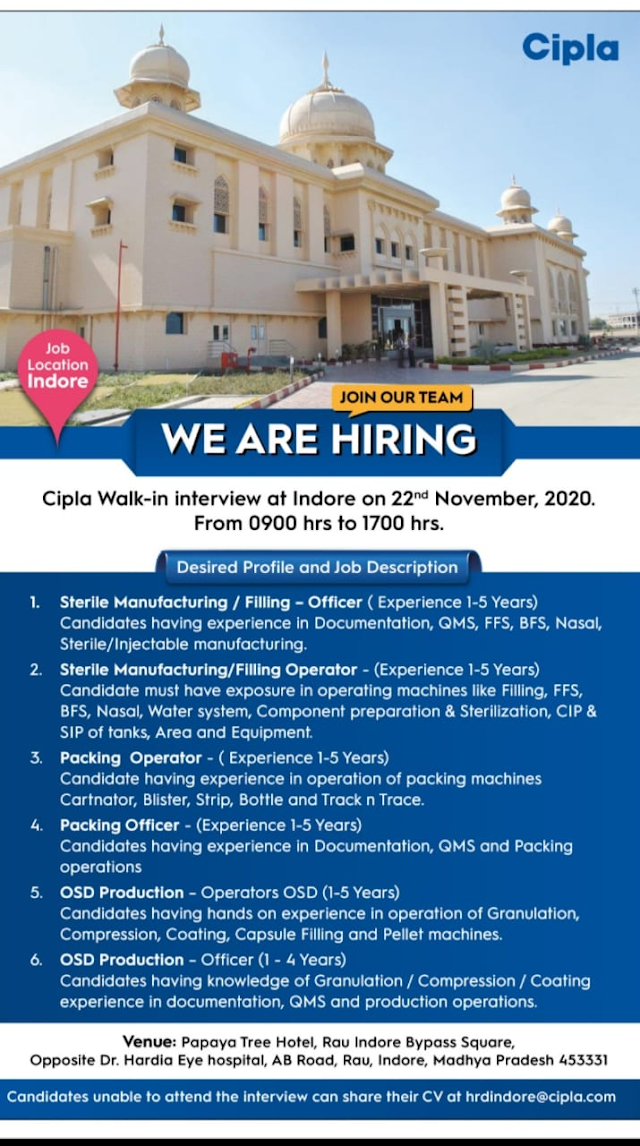 Cipla Pharmaceuticals | Walk-in interview for Production on 22 Nov 2020