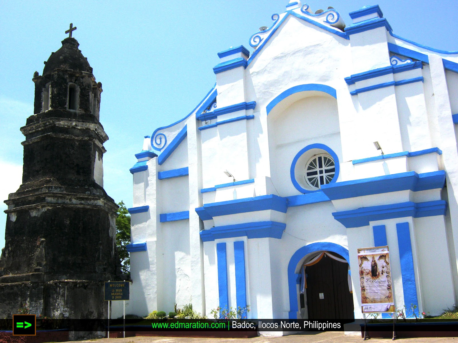 Badoc Church | Black Belfry Over White Façade