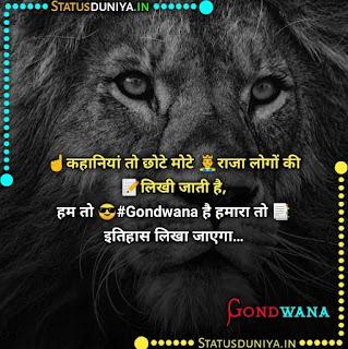 गोंडवाना स्टेटस फोटो डाउनलोड, ☝️कहानियां तो छोटे मोटे 🤴राजा लोगों की 📝लिखी जाती है, हम तो 😎#Gondwana है हमारा तो 📑इतिहास लिखा जाएगा…