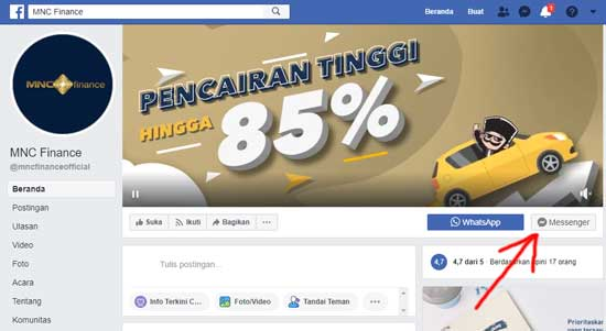 halaman facebook mnc finance official