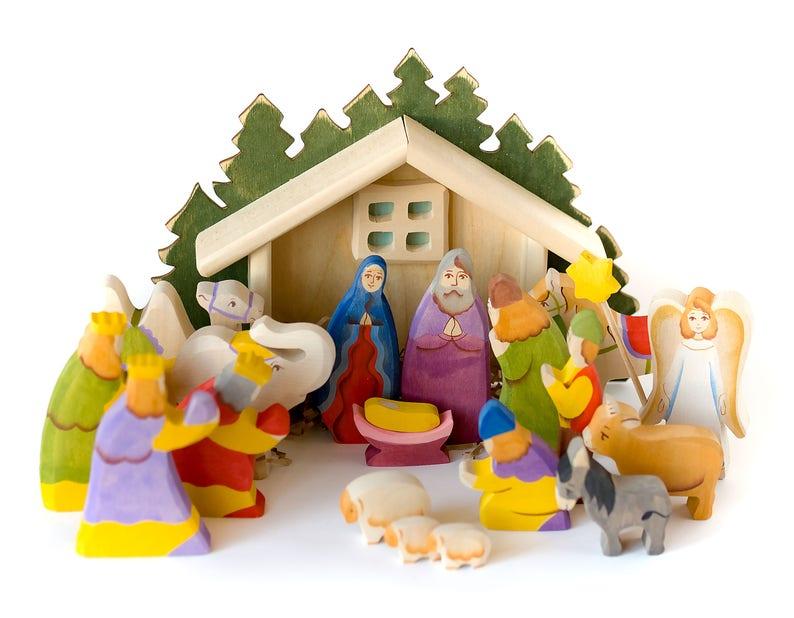 lena and sasha wooden nativity set