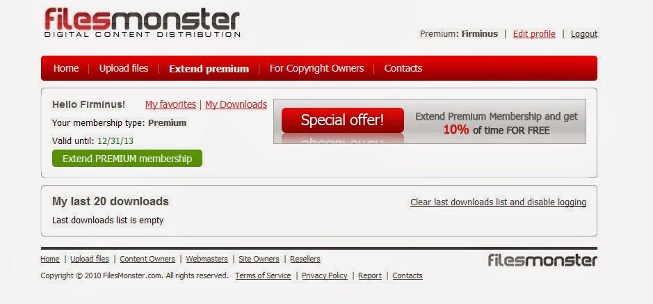 Free Premium Account: FilesMonster Premium Account 29/12/2013