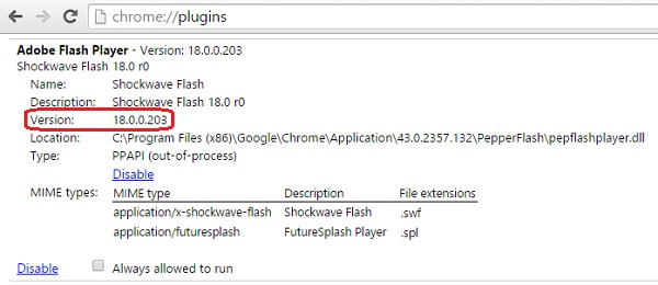 The current version for Adobe Flash Player in Chrome for Windows is 18.0.0.203