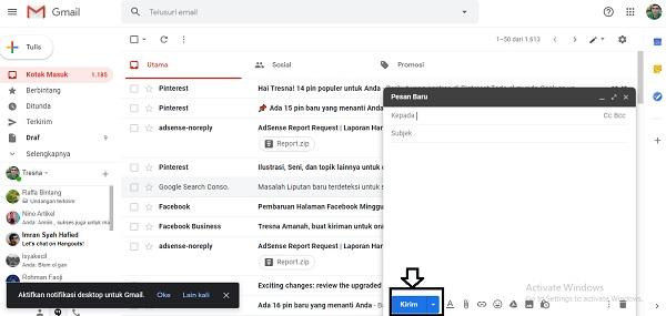 cara mengirim email di laptop