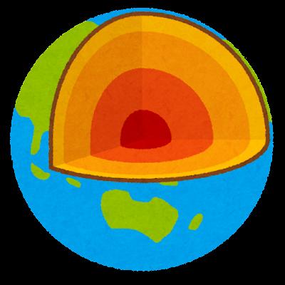 地球の断面図のイラスト