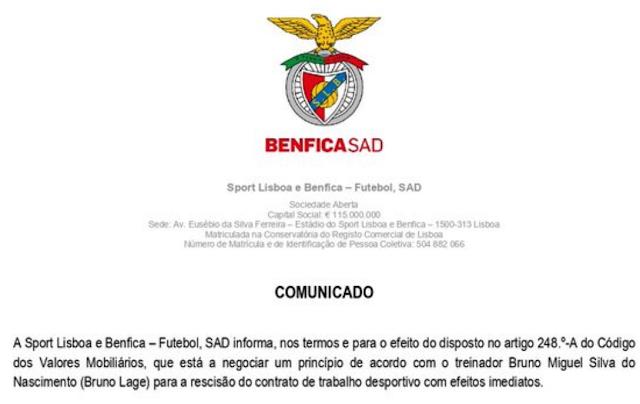 Fim da linha para Bruno Lage (Benfica) que pasa de bestial a bestia...