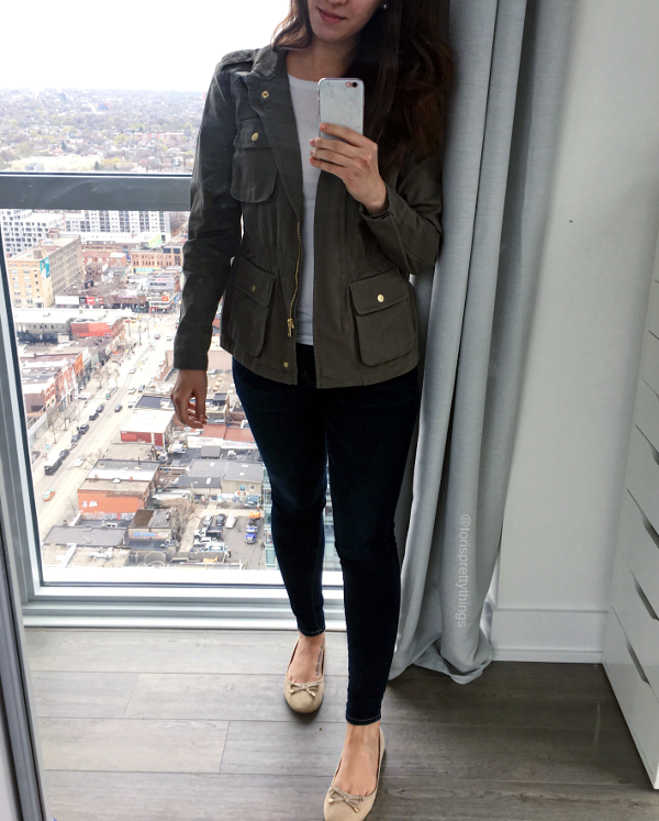 Spring Light Army Jacket Outfit - Tori's Pretty Things Blog