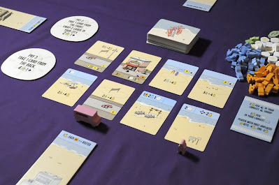 Standard setup with feature tiles, cards, sand dollar tiles and objective card in Santa Monica boardgame