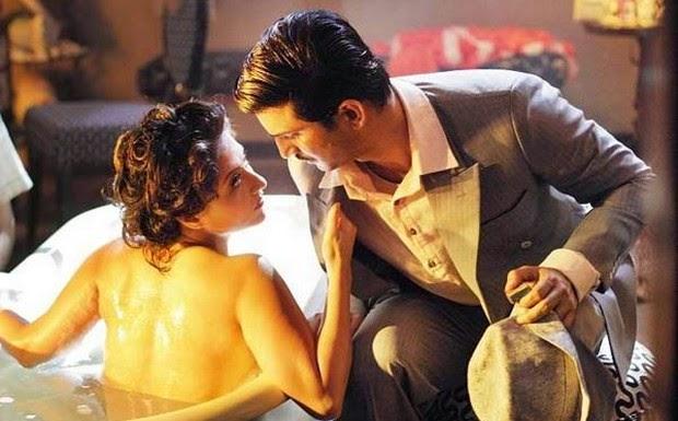 Sushant Singh Rajput as Detective Byomkesh Bakshy, Swastika Mukherjee as Anguri Devi, Bathtub Scene, in Detective Byomkesh Bakshy!, directed by Dibankar Banerjee