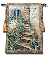 Üzerinde eski merdivenli bir ev resmi bulunan goblen halı