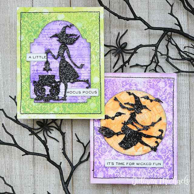 Halloween Cards by Juliana Michaels featuring Tim Holtz Sizzix Halloween Toil & Trouble Thinlits