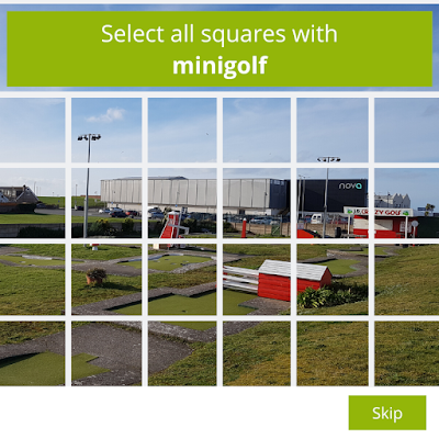 Are you a robot? Select all squares with minigolf.