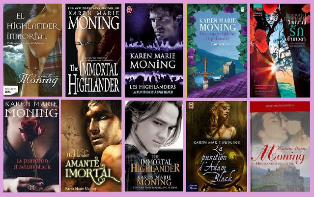 Portadas de la novela romántica paranormal El highlander inmortal, de Karen Marie Moning
