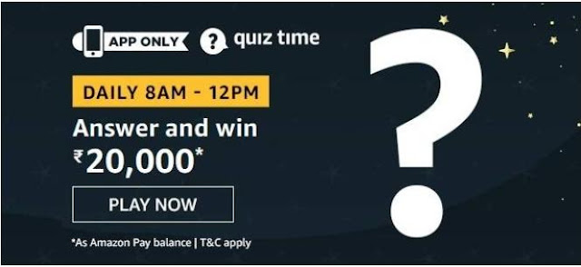 Amazon Quiz Answers Today 10 August 2020 Win 20000 Rupees