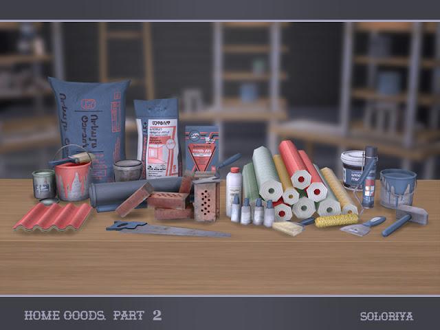 Home Goods, part 2 Товары для дома, часть 2 для The Sims 4 Все что нужно для ремонта дома. В набор входят 13 декоративных предметов. Все можно найти в категории Декоративные - Разное. 2-6 цветовых вариаций для каждого объекта. Предметы в наборе: - два комплекта товаров для дома, - два вида красок, - образцы руогинф листов, - строительная пена, - шпатель, - финишная шпаклевка, - цемент, - пила инструмент, - упаковка, - клей для плитки, - молоток Автор: soloriya