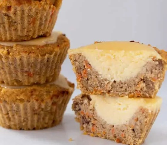 Keto Carrot Cake Muffins with Cream Cheese Filling #lowcarb #treats