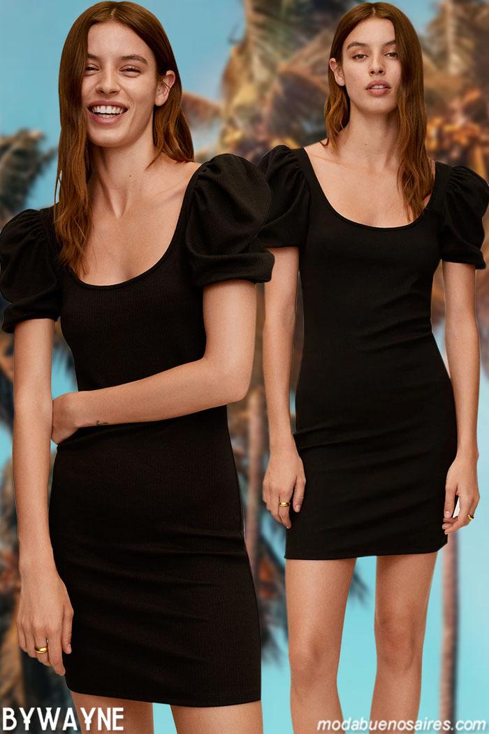 moda mujer 2021 vestidos cortos negros