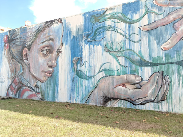 Herakut Mural with Mermaids in Downtown West Palm Beach