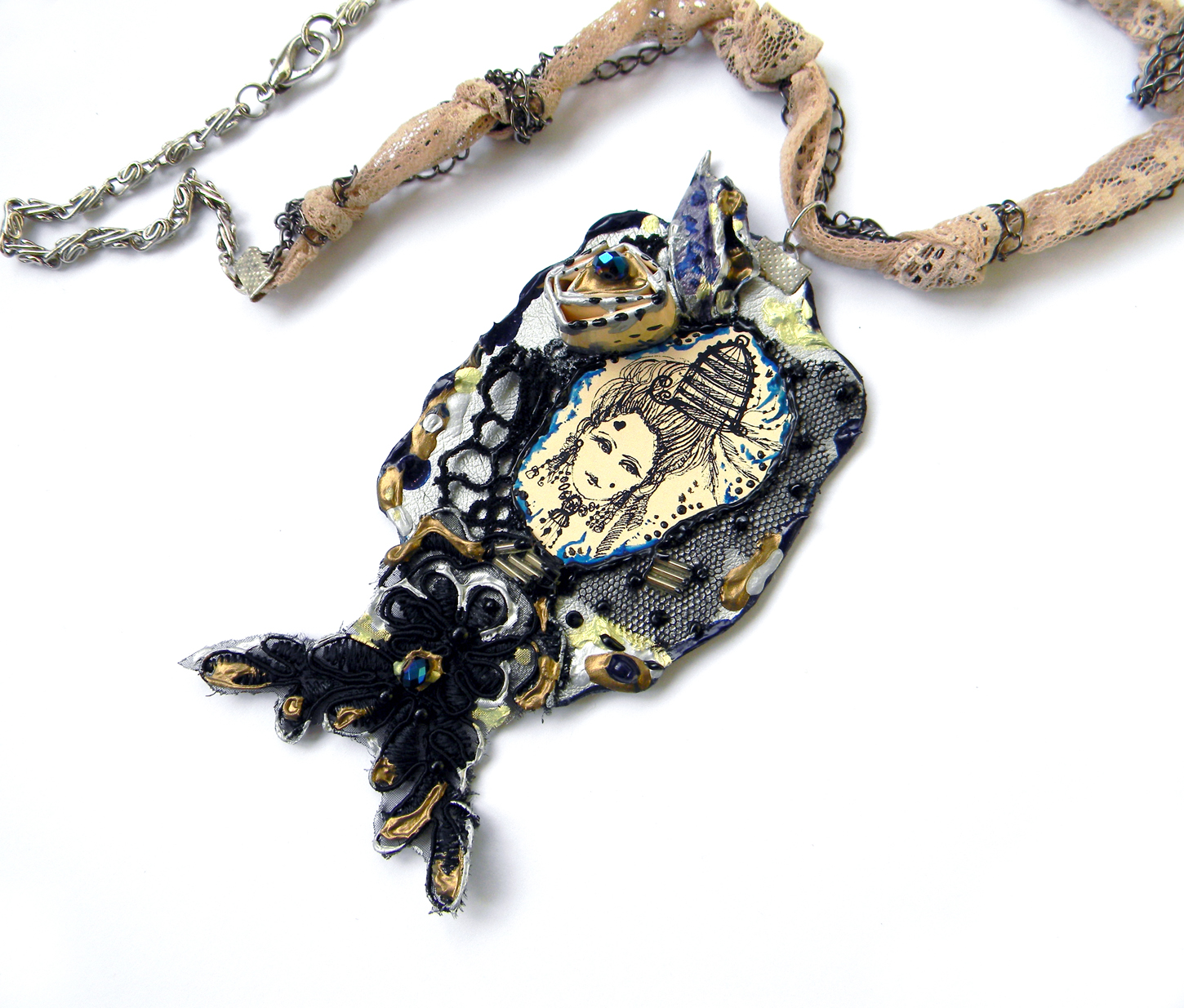 Uniuqe Handmade Jewelry Original Necklace Fashion Handcrafted Jewelry Rococo Marie Antoinette
