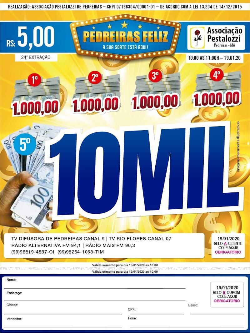Domingo (19) tem R$ 14 mil reais em prêmios no Pedreiras Feliz.