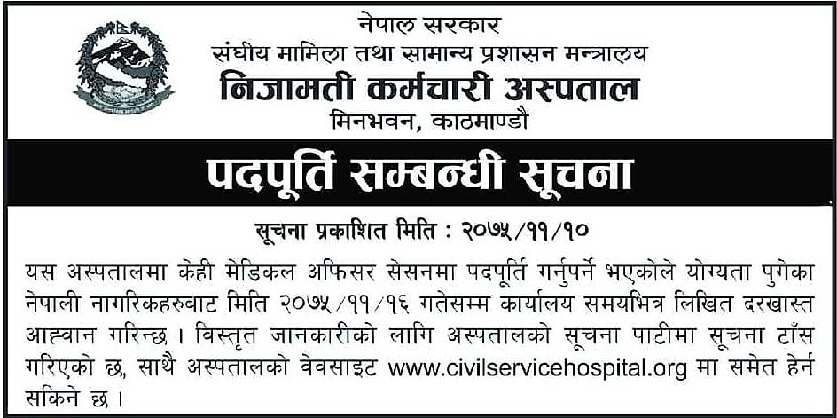 Government Vacancy for Medical Officer.
