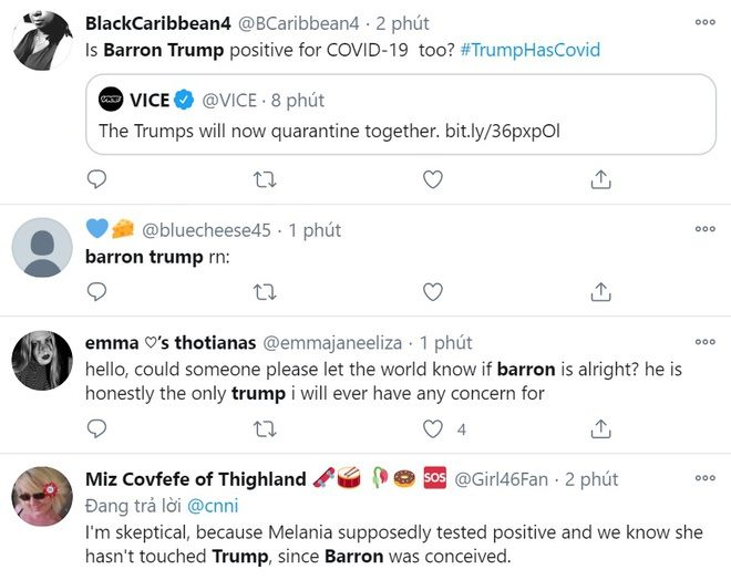 Dân mạng lo lắng cho sức khỏe của Barron Trump